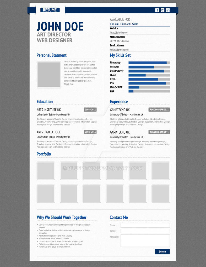 Resume Web Template WordPress