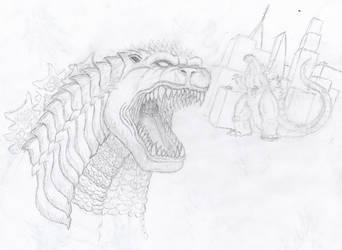 Godzilla Sketch 2 by StarvedSkull