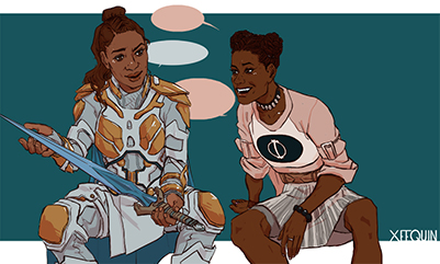 Shuri and Valkyrie by MakerofMasks