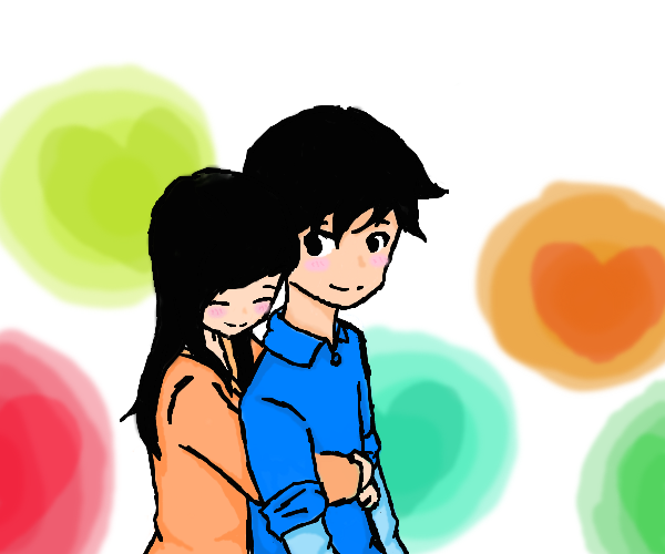Girl hugs boy from behind by MsSketcher0015 on DeviantArt