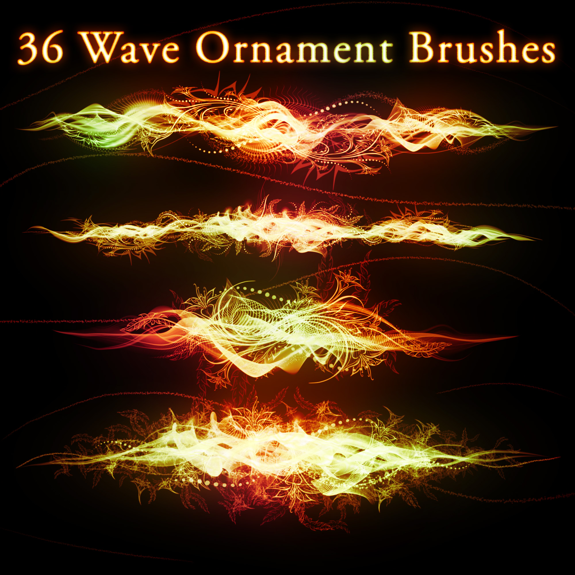 36 Wave Ornament Brushes