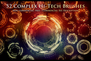 52 Complex Hi-Tech Sci-Fi Circle Brushes