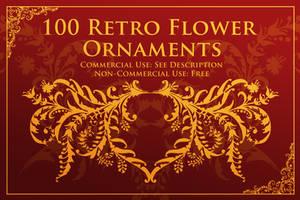 100 Retro Flower Ornament Brushes