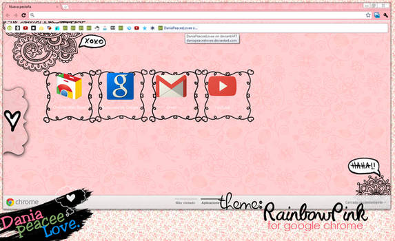 Theme for google chrome:Rainbow Pink by DaniaPeaceeLovee
