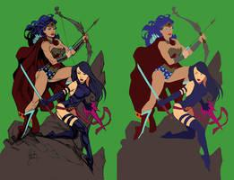 Wonder Woman And Psylocke - Flats by Mr-Frisky