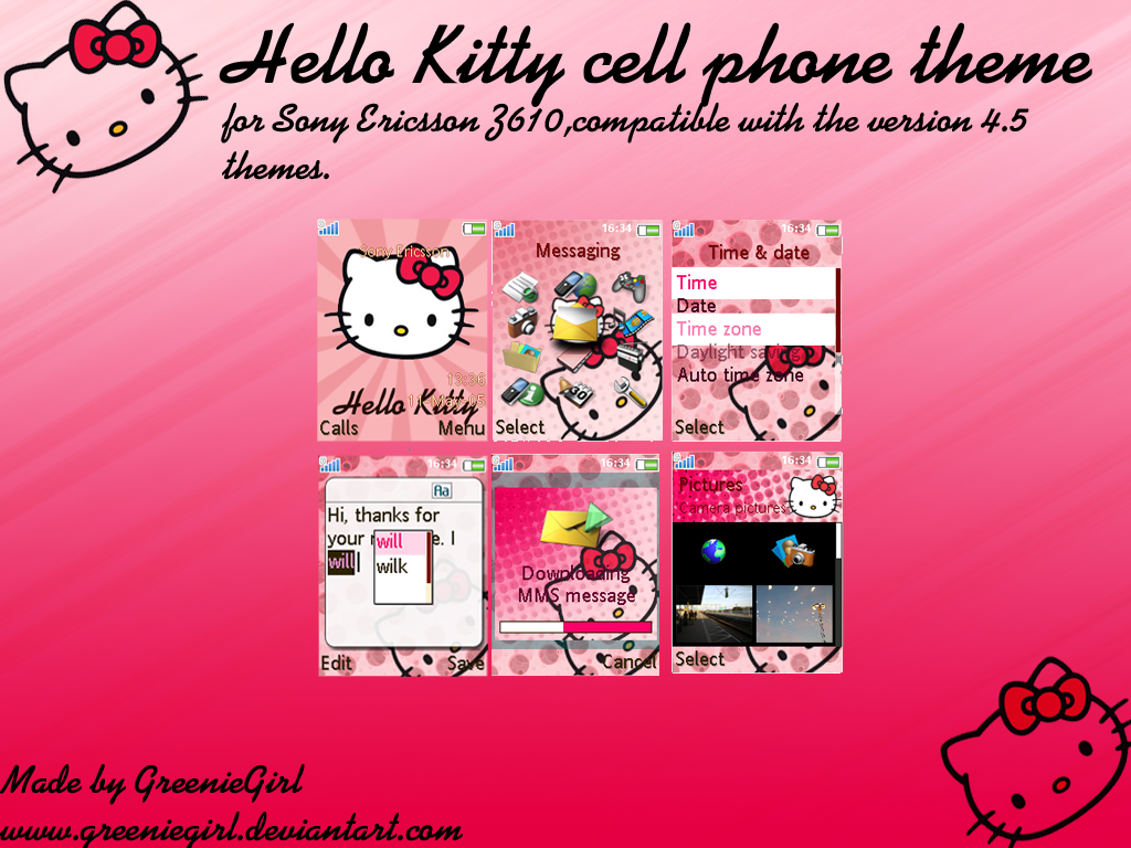 Hello Kitty cell phone theme by GreenieGirl on DeviantArt