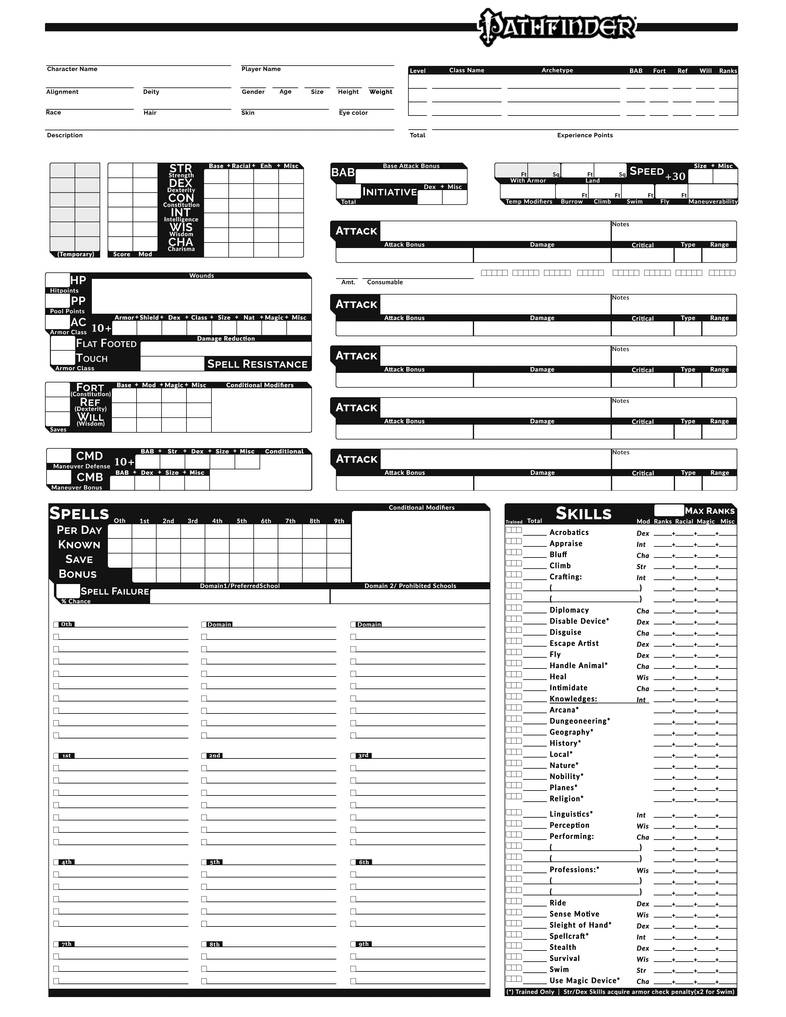 graphic regarding Pathfinder Printable Character Sheet named Pathfinder Challenge Slate Individuality Sheet v1 via ProjectSlate