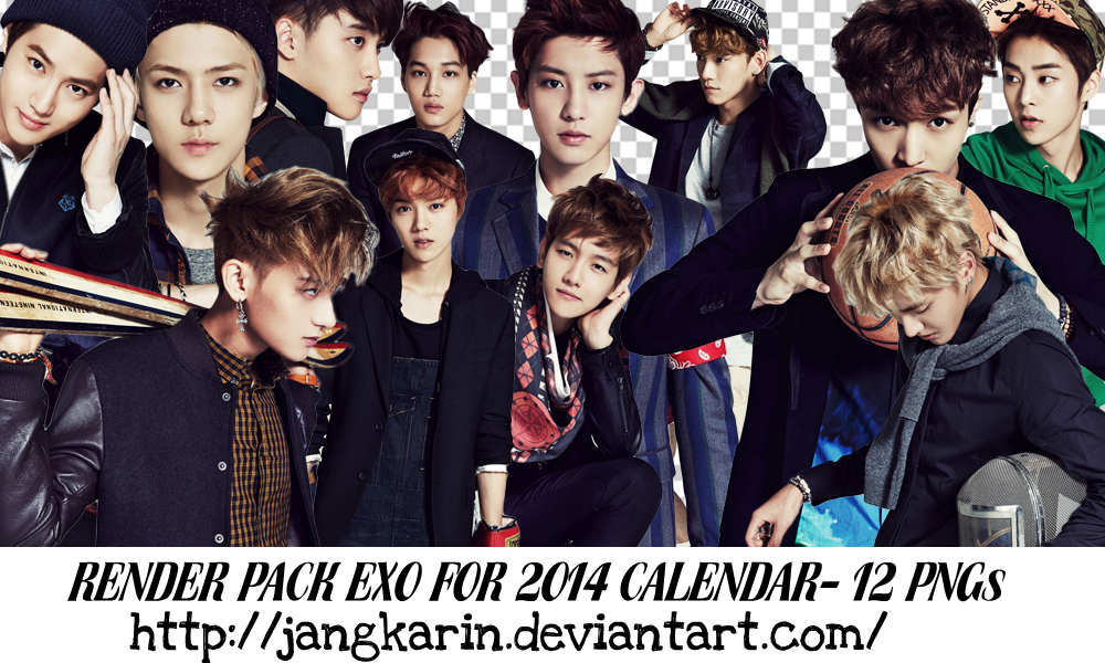[Render Pack] EXO for 2014 Season's Greet - 12 PNG by jangkarin