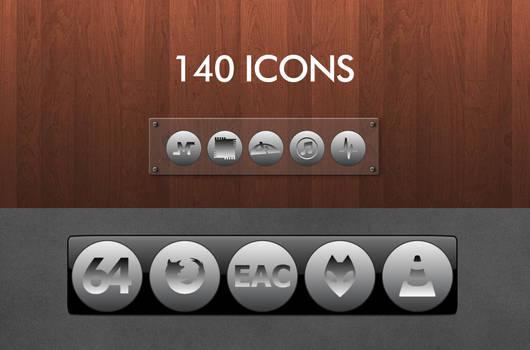 Grey Icon Set Round Gradient