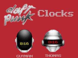 Daft Punk Thomas And Guyman Digital Pixel Clocks