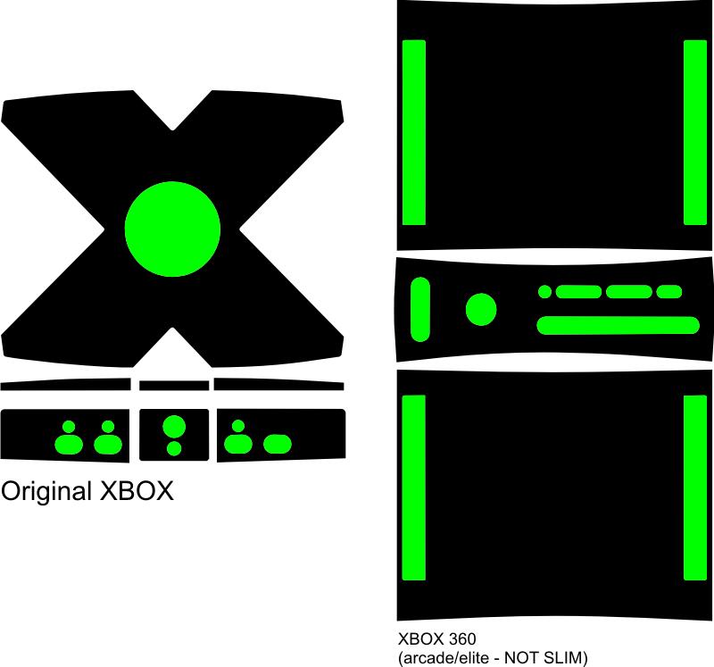 Original Xbox / 360 / 360 Arcade Vinyl Template By