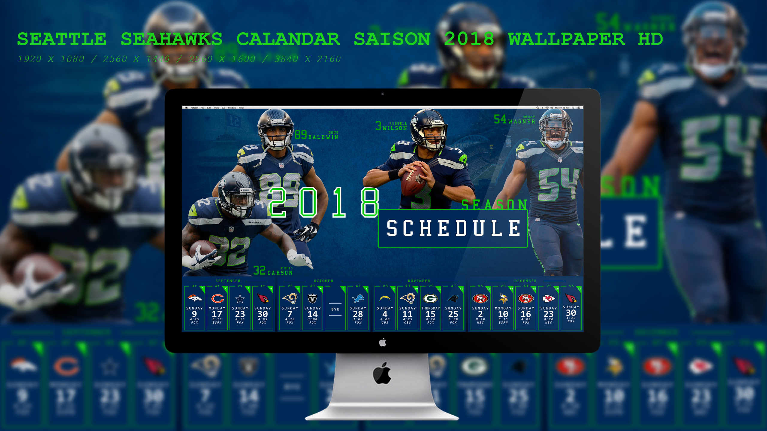 Seattle Seahawks Calandar Saison 2018 Wallpaper HD