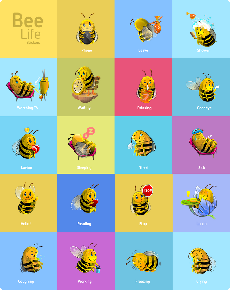 Bee Stickers by chicho21net