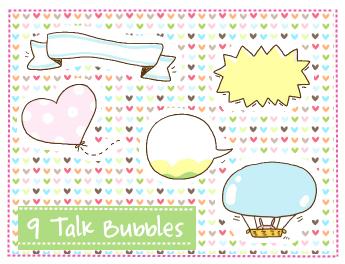 Talk Bubbles Clipart set 1 by SparklingTea