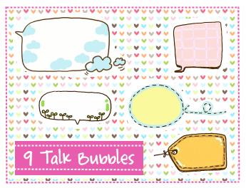 Talk Bubbles Clipart set 2 by SparklingTea