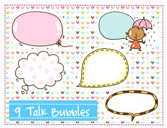 Talk Bubbles Clipart set 3 by SparklingTea