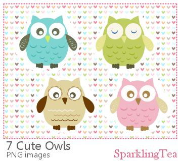 Cute Owls Clipart set by SparklingTea