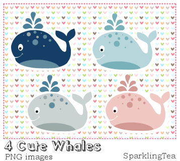 Cute Whales Clipart set by SparklingTea