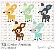 Cute Fawns Clipart set