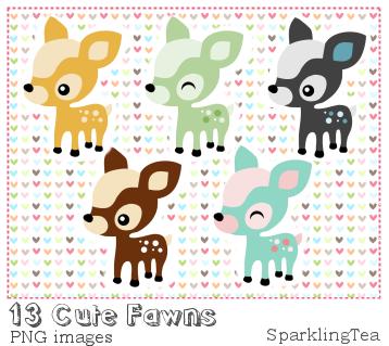 Cute Fawns Clipart set by SparklingTea
