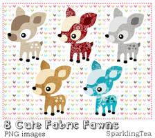 Cute Fabric Fawns Clipart set