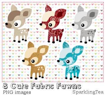 Cute Fabric Fawns Clipart set by SparklingTea