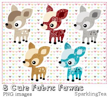 Cute Fabric Fawns Clipart set by SparklingTea