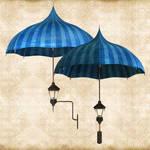 Blue Umbrella Lamp