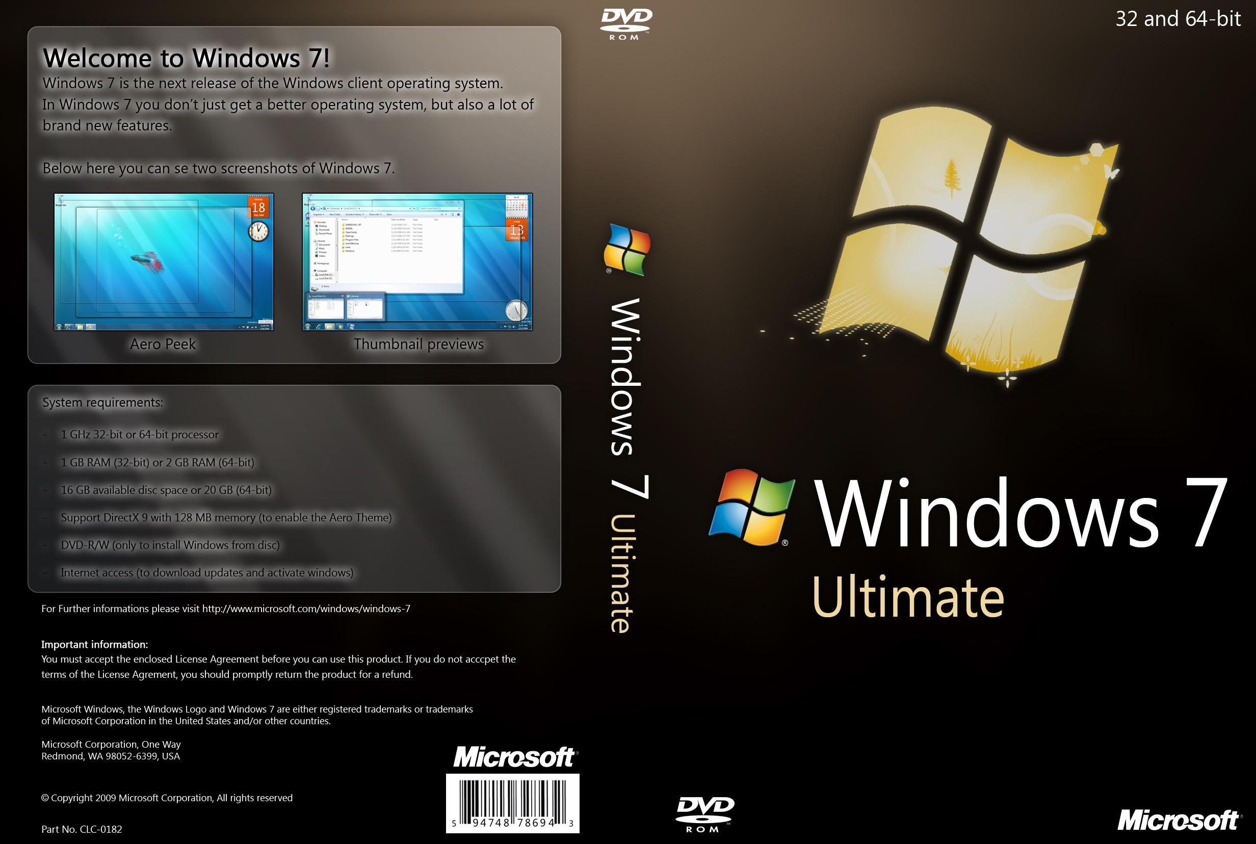 windows 7 ultimate dvd by yaxxe on deviantart. Black Bedroom Furniture Sets. Home Design Ideas