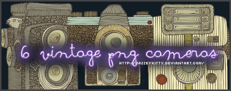 6 Vintage Cameras - PNG Pack by silklungs