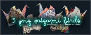 5 Origami Birds - PNG Pack