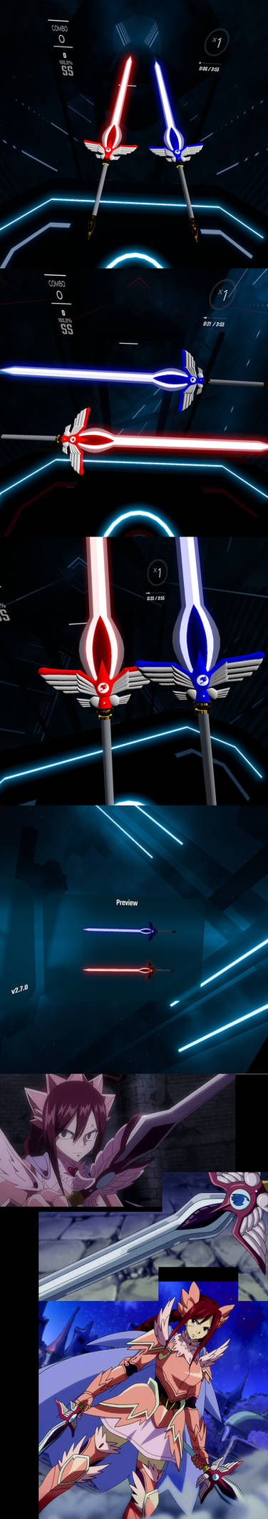 Erza Scarlet - Armadura Fair Swords for Beat Saber by Melllin