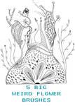 Big Weird Flower Brushes by gabijax