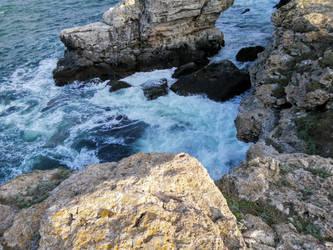 Waves against rocks