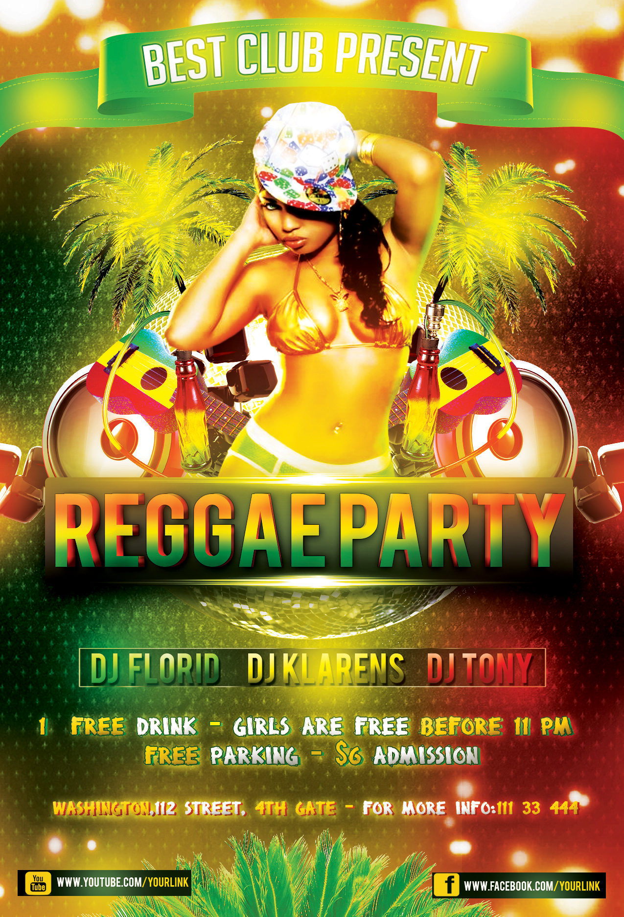 Reggae Party Flyer FREE PSD Template