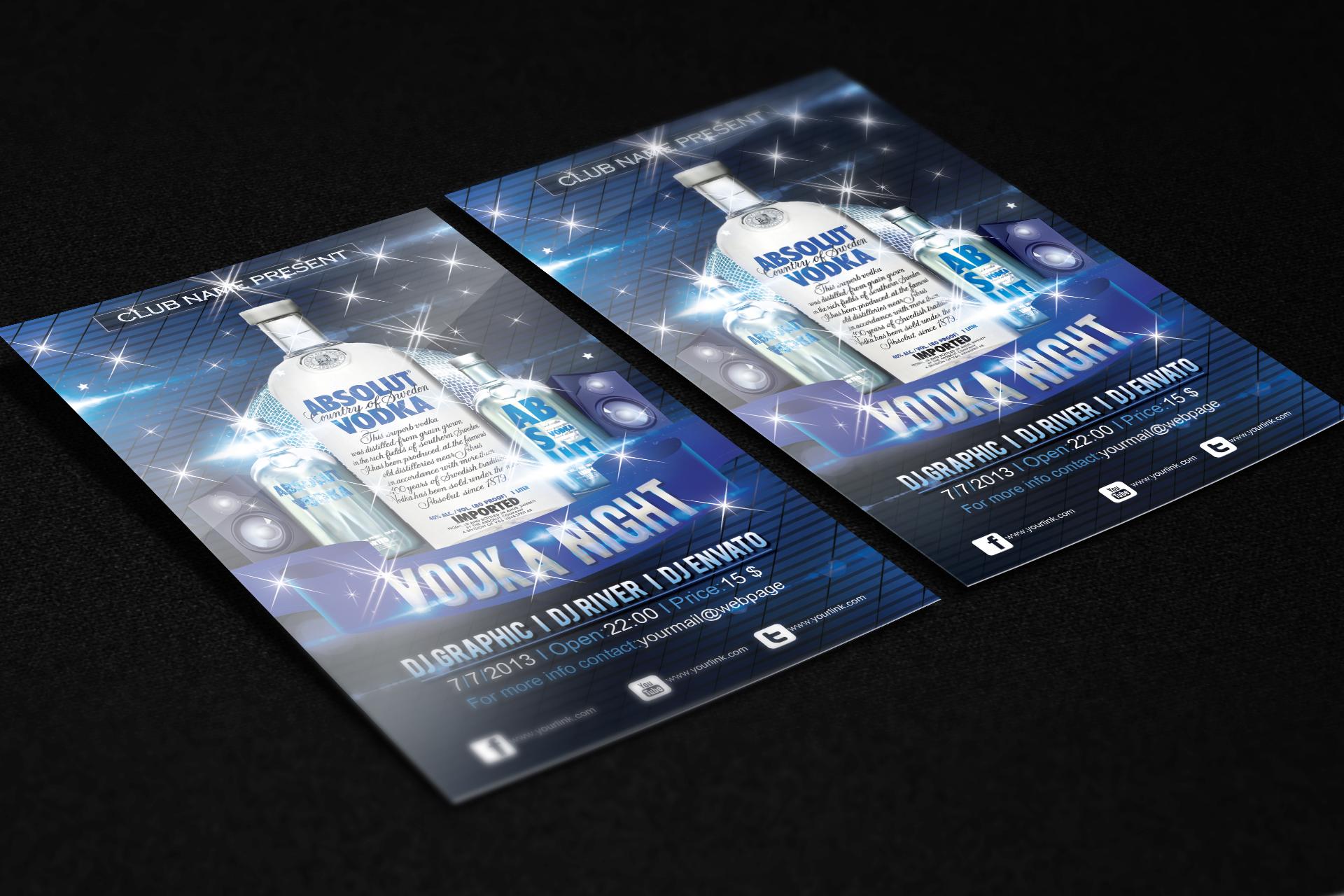 Vodka Night Flyer FREE PSD Template