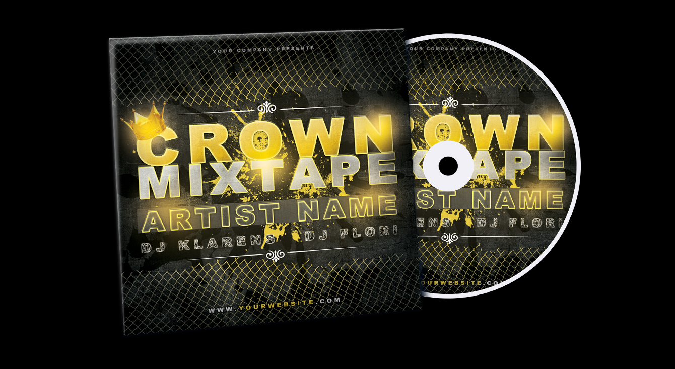 Crown Mixtape CD Cover FREE PSD Template