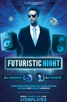 Futuristic Party Flyer FREE PSD Template by KlarensM