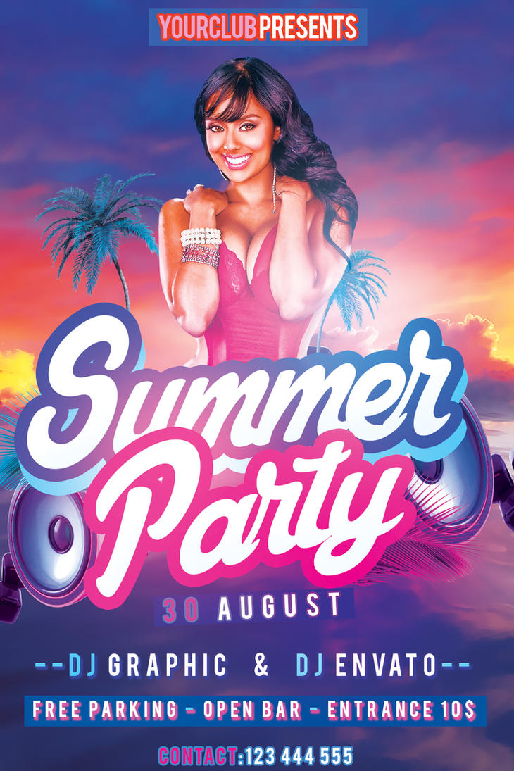 free party flyer templates - summer party flyer free psd template by klarensm on deviantart
