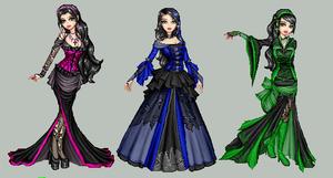 3 gothic ladies.dolls