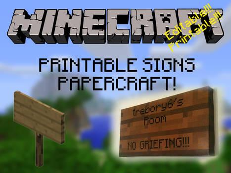 Customizable, Printable, Minecraft Signs!