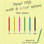 Pencil PSD With 6 Colour Options (PSD)