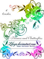 Flowers and butterflies by Lileya
