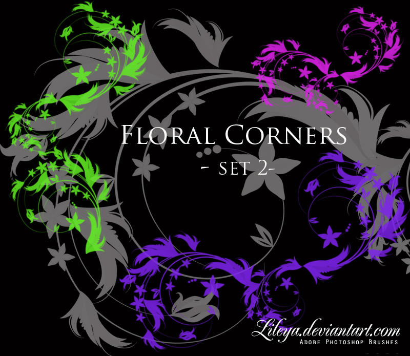 Floral Corners - set 2 by Lileya