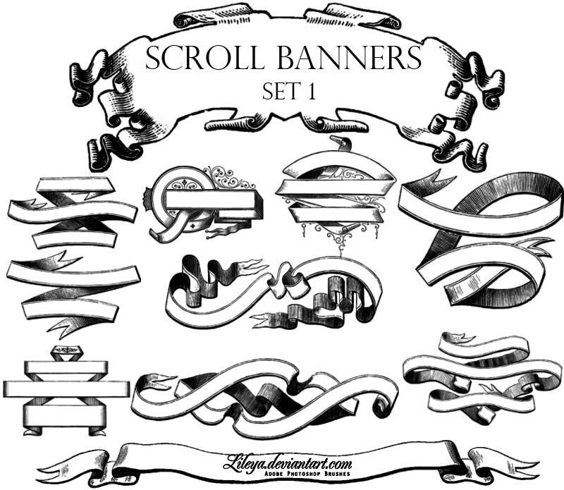 Scroll Banners -set1- by Lileya