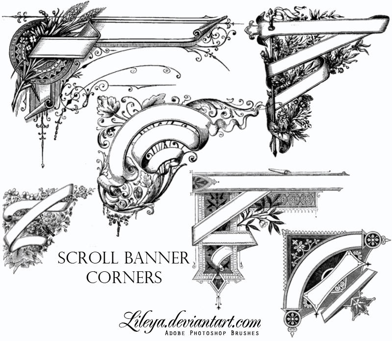 scroll banner corners by lileya on deviantart