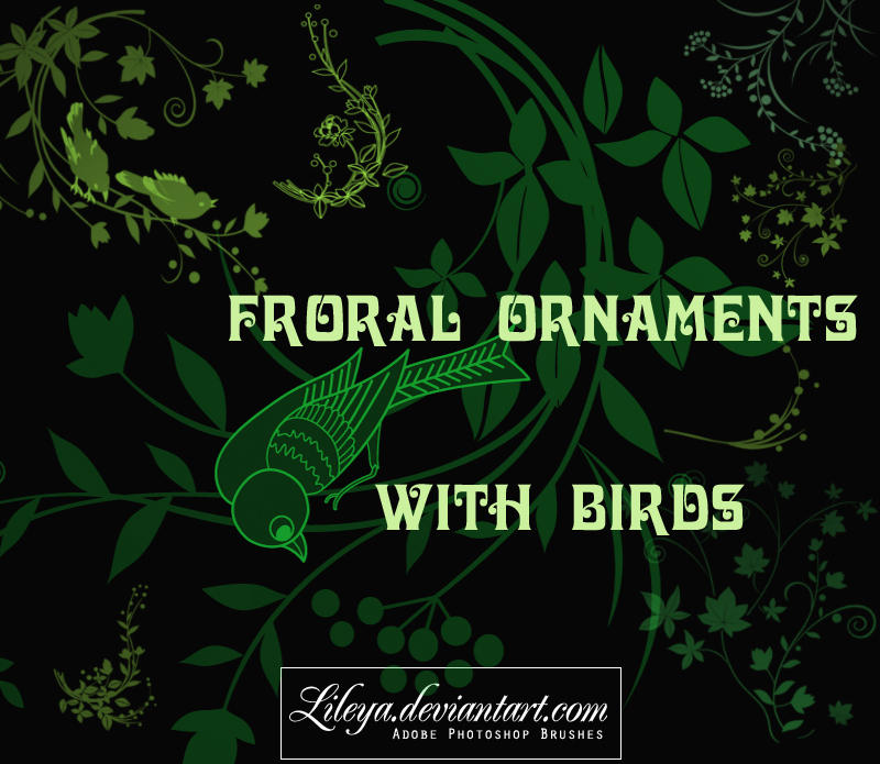 Floral Ornaments with Birds by Lileya