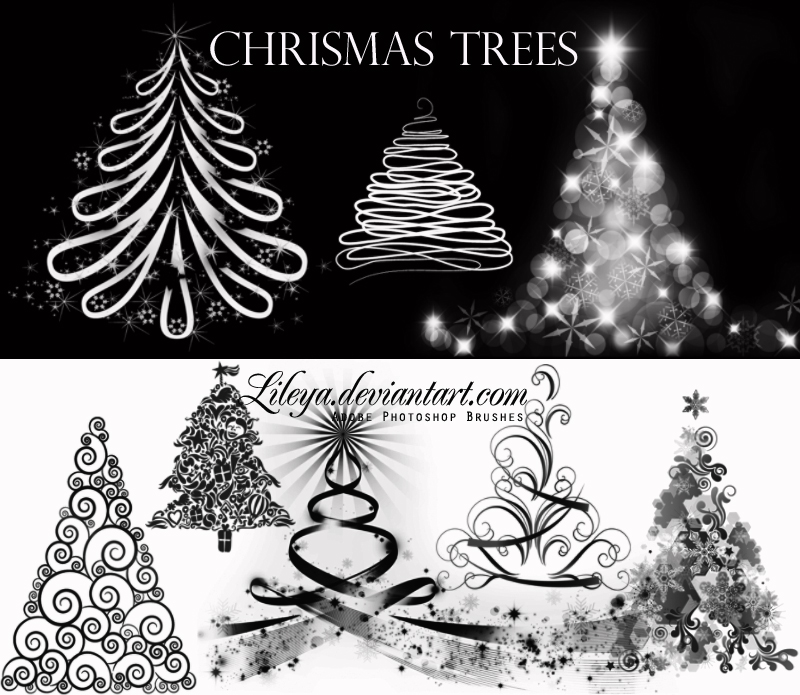 Christmas Tree brushes by Lileya