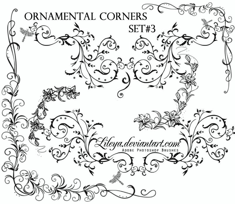 Ornamental Card Corners Brushes