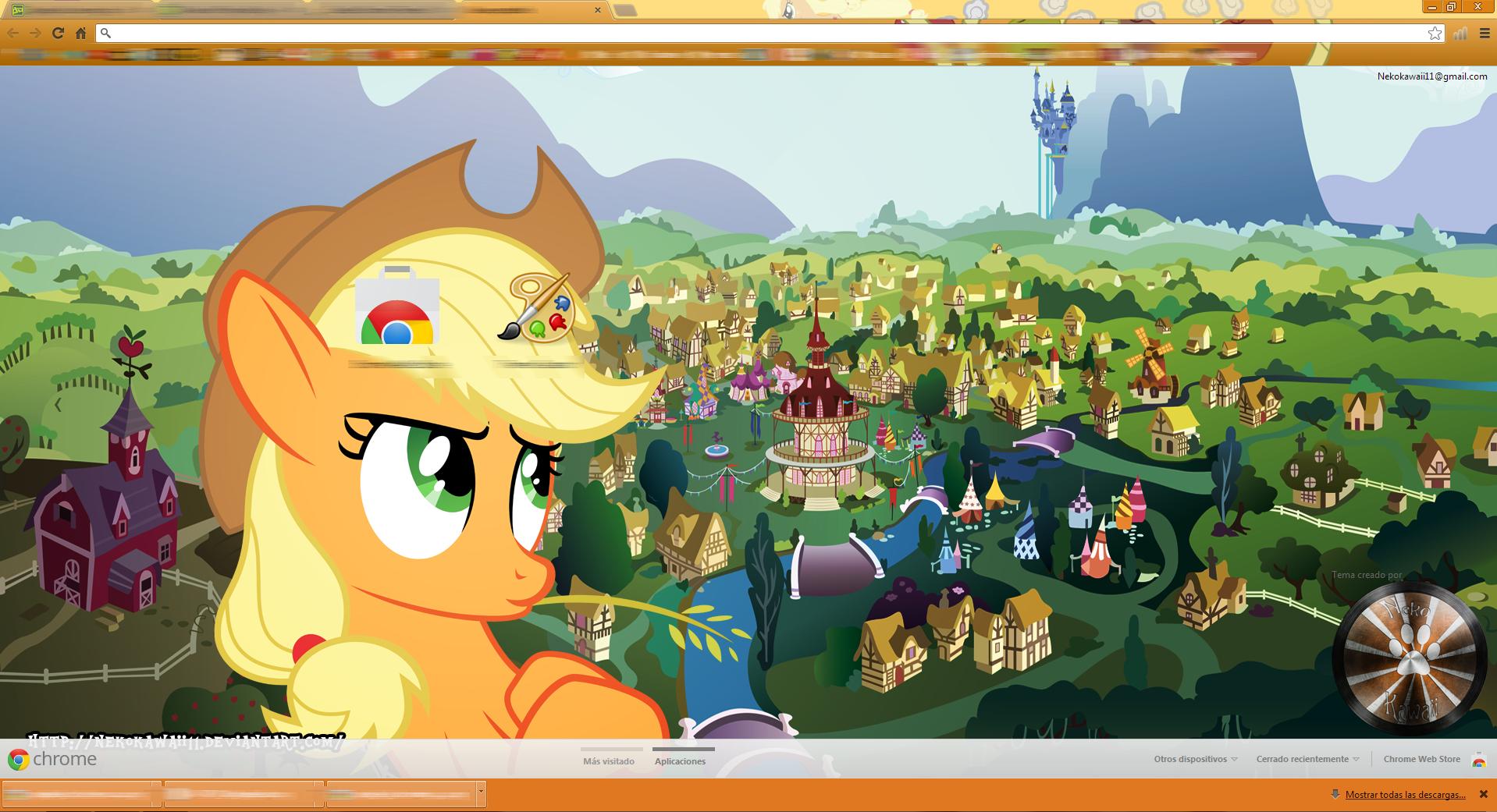 Google themes kawaii -  Updated Applejack Google Chrome Theme By Nekokawaii11